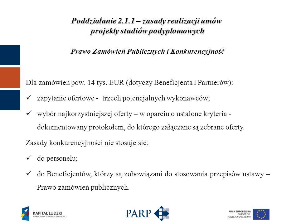 Poddziałanie 2.1.1 – zasady realizacji umów projekty studiów podyplomowych Prawo Zamówień Publicznych i Konkurencyjność Dla zamówień pow.