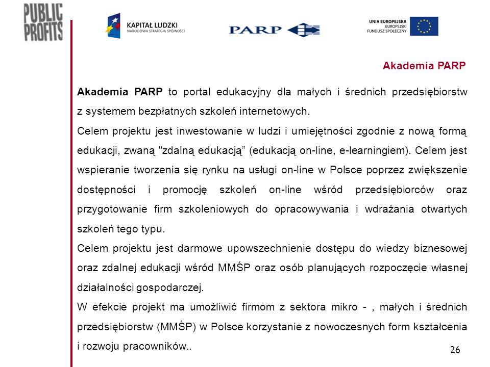 26 Akademia PARP Akademia PARP to portal edukacyjny dla małych i średnich przedsiębiorstw z systemem bezpłatnych szkoleń internetowych. Celem projektu