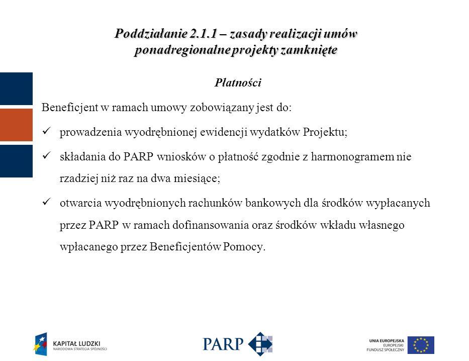 Poddziałanie 2.1.1 – zasady realizacji umów ponadregionalne projekty zamknięte Prawo Zamówień Publicznych i Konkurencyjność Dla zamówień pow.