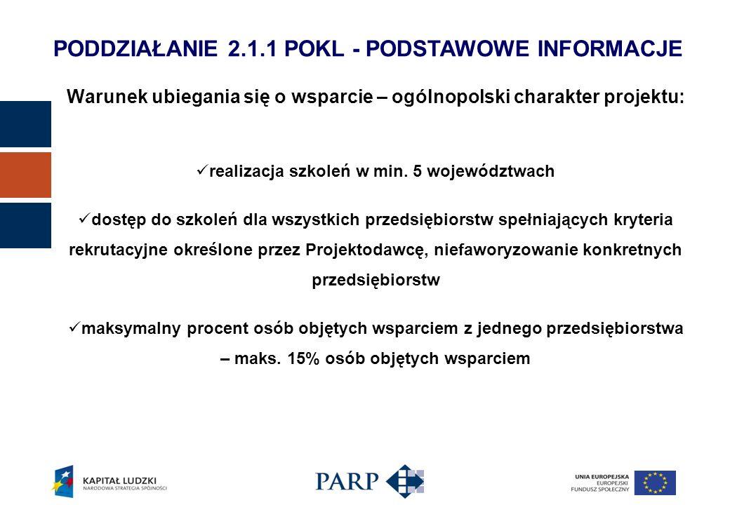 Warunek ubiegania się o wsparcie – ogólnopolski charakter projektu: realizacja szkoleń w min. 5 województwach dostęp do szkoleń dla wszystkich przedsi