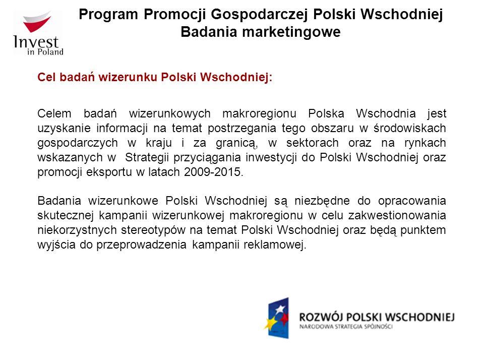 Program Promocji Gospodarczej Polski Wschodniej Badania marketingowe Cel badań wizerunku Polski Wschodniej: Celem badań wizerunkowych makroregionu Pol