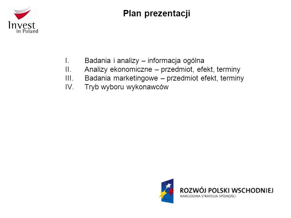 Plan prezentacji I.Badania i analizy – informacja ogólna II.Analizy ekonomiczne – przedmiot, efekt, terminy III.Badania marketingowe – przedmiot efekt