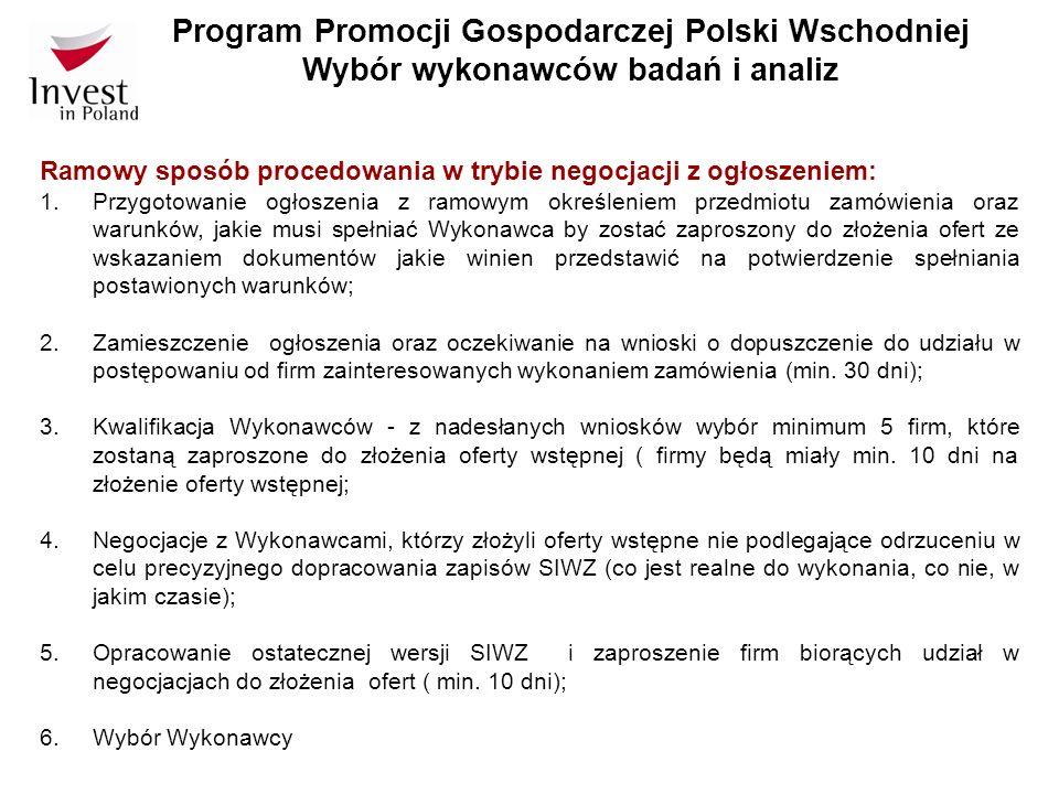 Program Promocji Gospodarczej Polski Wschodniej Wybór wykonawców badań i analiz Ramowy sposób procedowania w trybie negocjacji z ogłoszeniem: 1. Przyg