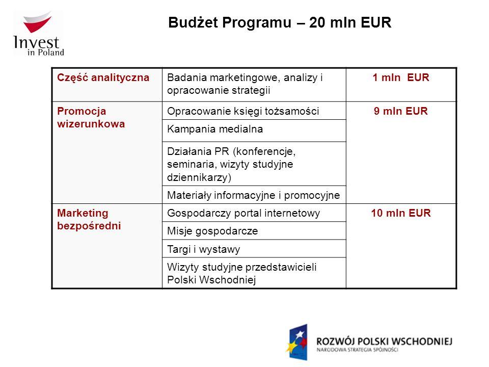 Budżet Programu – 20 mln EUR Część analitycznaBadania marketingowe, analizy i opracowanie strategii 1 mln EUR Promocja wizerunkowa Opracowanie księgi