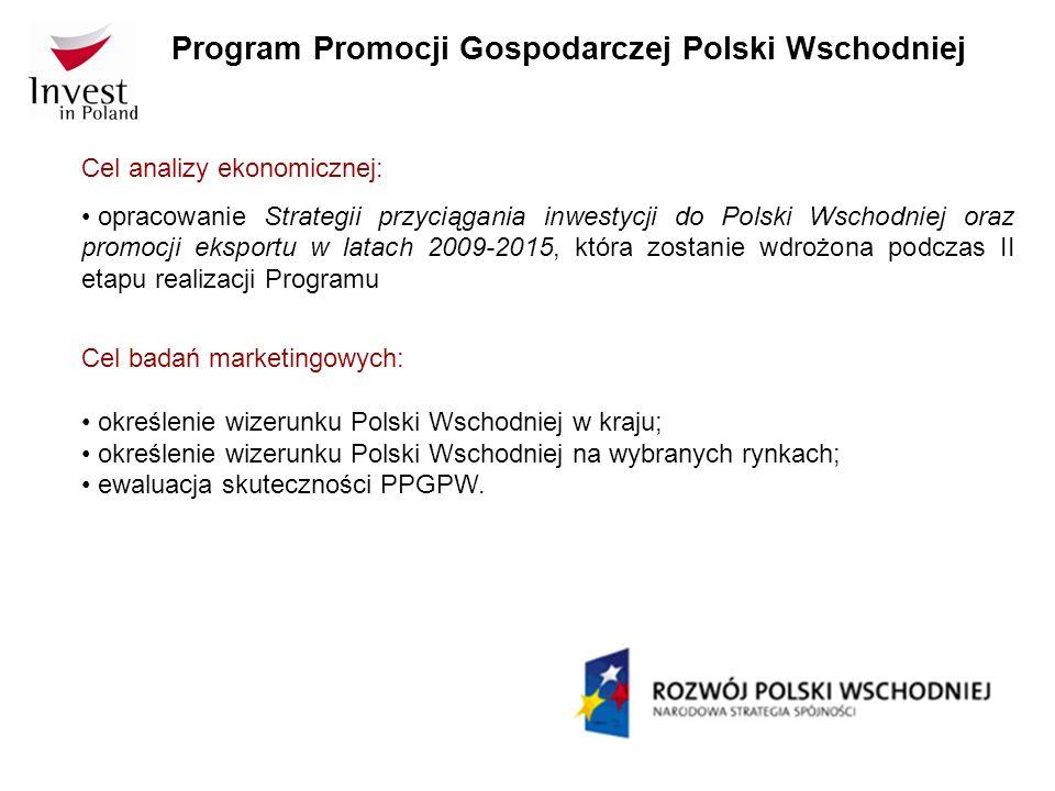 Program Promocji Gospodarczej Polski Wschodniej Cel analizy ekonomicznej: opracowanie Strategii przyciągania inwestycji do Polski Wschodniej oraz prom