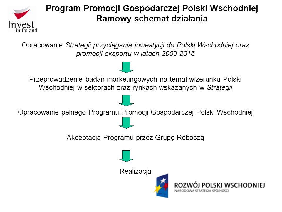Program Promocji Gospodarczej Polski Wschodniej Ramowy schemat działania Opracowanie Strategii przyciągania inwestycji do Polski Wschodniej oraz promo