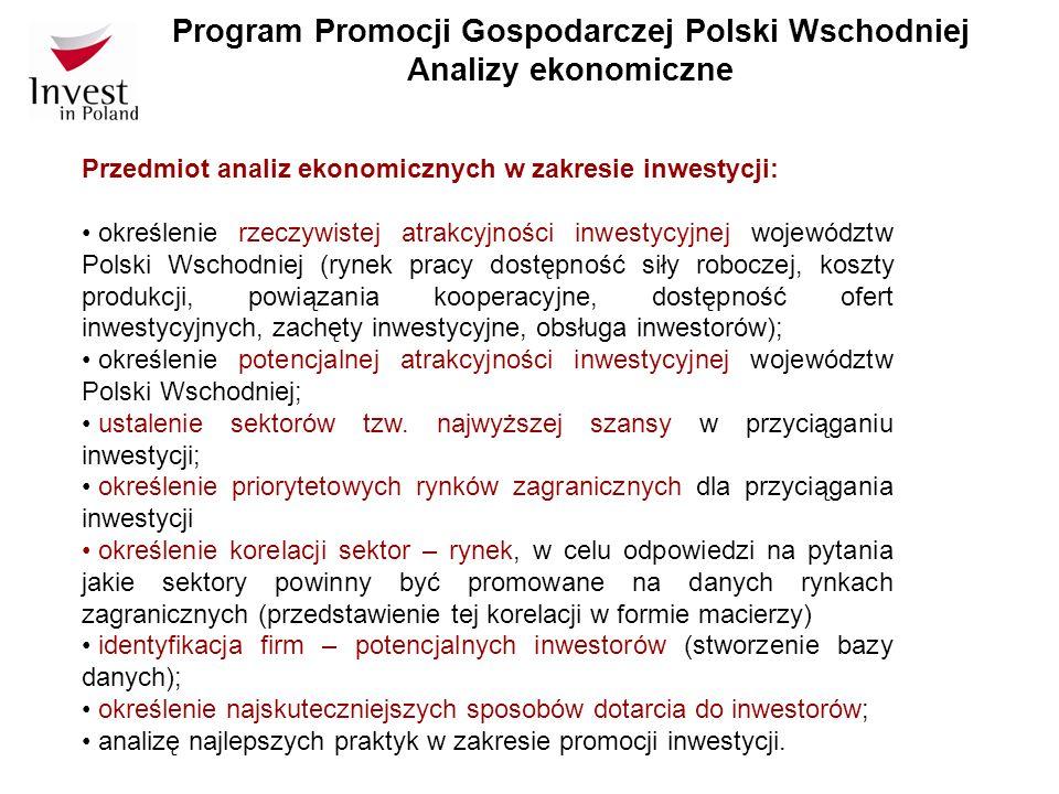 Program Promocji Gospodarczej Polski Wschodniej Analizy ekonomiczne Przedmiot analiz ekonomicznych w zakresie eksportu: diagnoza sytuacji Polski Wschodniej w zakresie eksportu (wartość eksportu, dynamika wzrostu, branże eksportu, produkty eksportowe, kierunki eksportu, bariery dla rozwoju eksportu, firmy będące liderami eksportu); ustalenie priorytetowych sektorów w zakresie promocji eksportu; określenie rynków priorytetowych dla promocji eksportu; ustalenie korelacji sektor – rynek, w celu odpowiedzi na pytania jakie produkty powinny być promowane na danych rynkach zagranicznych (przedstawienie tej korelacji w formie macierzy); opracowanie listy imprez wystawienniczo – targowych w kraju i za granicą, na których powinna być promowana Polska Wschodnia; analizę najlepszych praktyk w zakresie promocji eksportu zaobserwowanych w innych regionach za granicą.
