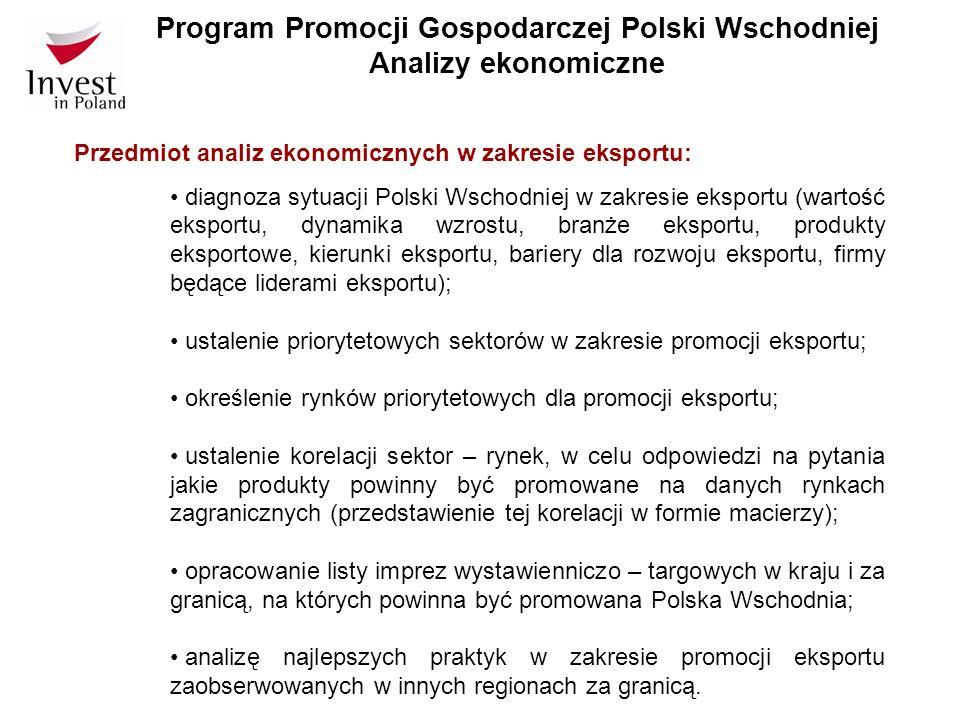 Program Promocji Gospodarczej Polski Wschodniej Analizy ekonomiczne Przedmiot analiz ekonomicznych w zakresie eksportu: diagnoza sytuacji Polski Wscho