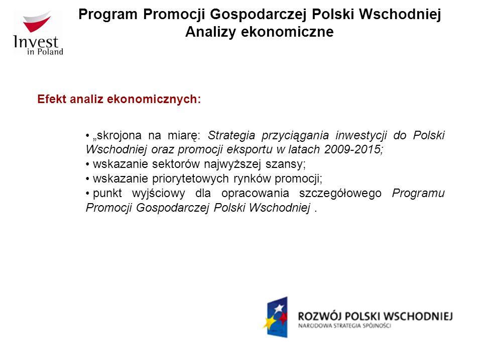 Program Promocji Gospodarczej Polski Wschodniej Analizy ekonomiczne Termin realizacji analiz ekonomicznych: wyłonienie wykonawcy badania w drodze procedur zamówień publicznych do końca I kwartału 2009; wykonanie badań II/III kwartał 2009.