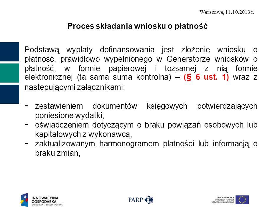 Warszawa, 11.10.2013 r. Proces składania wniosku o płatność Podstawą wypłaty dofinansowania jest złożenie wniosku o płatność, prawidłowo wypełnionego