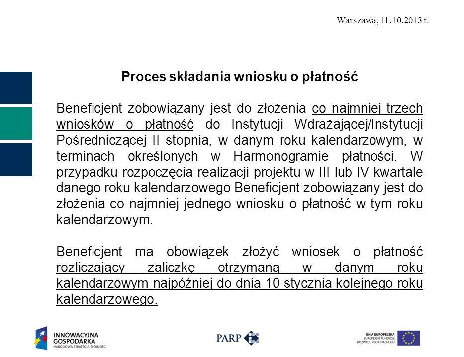 Warszawa, 11.10.2013 r. Proces składania wniosku o płatność Beneficjent zobowiązany jest do złożenia co najmniej trzech wniosków o płatność do Instytu