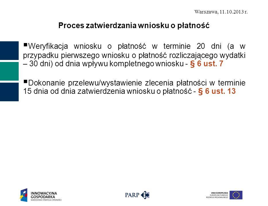 Warszawa, 11.10.2013 r. Proces zatwierdzania wniosku o płatność Weryfikacja wniosku o płatność w terminie 20 dni (a w przypadku pierwszego wniosku o p