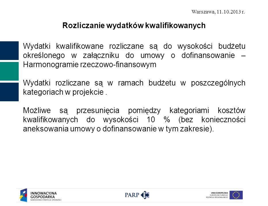 Warszawa, 11.10.2013 r. Rozliczanie wydatków kwalifikowanych Wydatki kwalifikowane rozliczane są do wysokości budżetu określonego w załączniku do umow