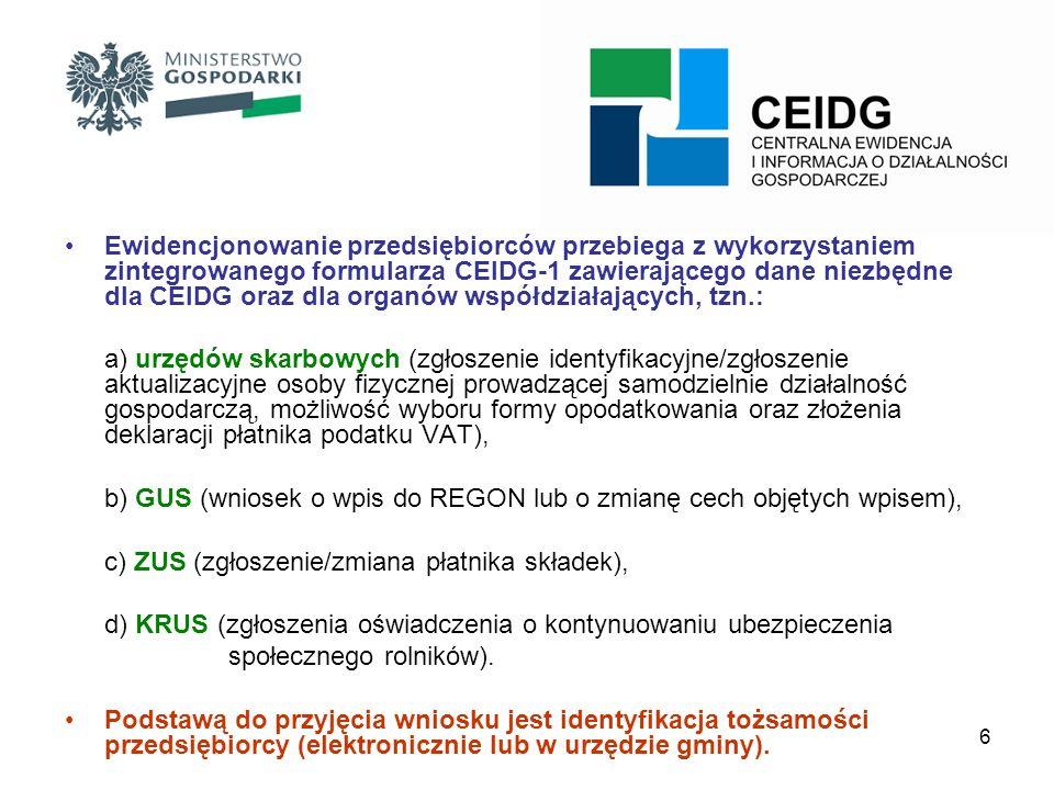 7 CEIDG Karta PolakaPESELPOBYT CRP-KEP NIP Podatek GUS REGON KRKKRS Rejestry Działalności Regulowanych ZUSKRUS