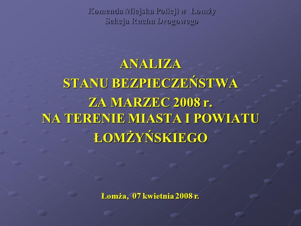 Komenda Miejska Policji w Łomży Sekcja Ruchu Drogowego ANALIZA STANU BEZPIECZEŃSTWA ZA MARZEC 2008 r.