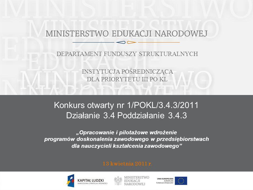 Konkurs otwarty nr 1/POKL/3.4.3/2011 Działanie 3.4 Poddziałanie 3.4.3 13 kwietnia 2011 r.