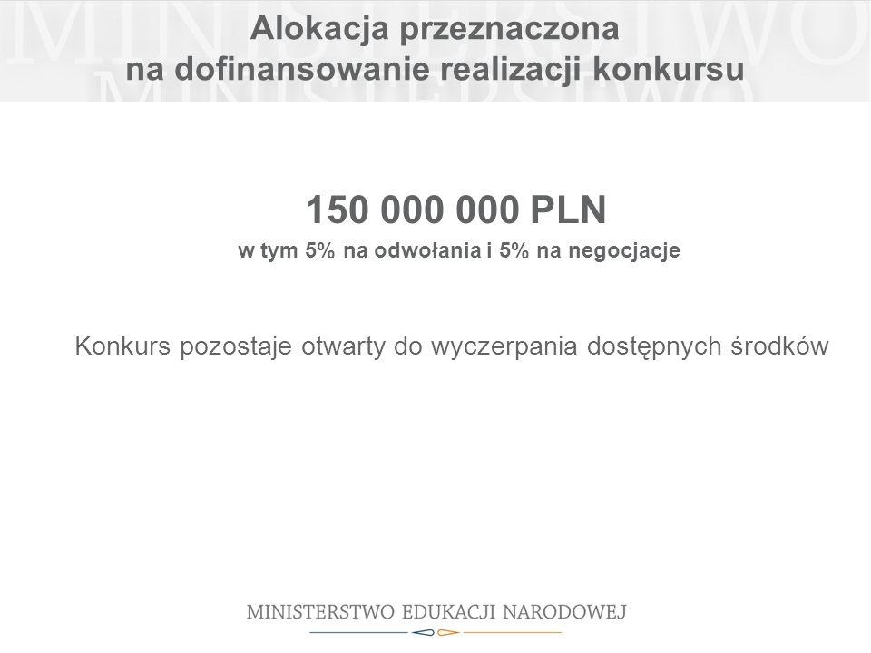 Alokacja przeznaczona na dofinansowanie realizacji konkursu 150 000 000 PLN w tym 5% na odwołania i 5% na negocjacje Konkurs pozostaje otwarty do wyczerpania dostępnych środków