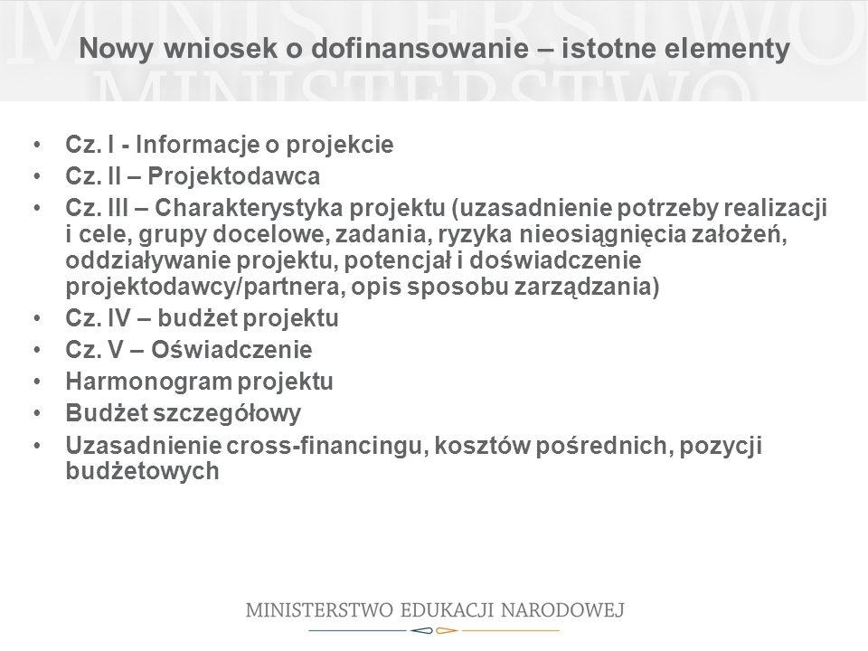 Nowy wniosek o dofinansowanie – istotne elementy Cz.