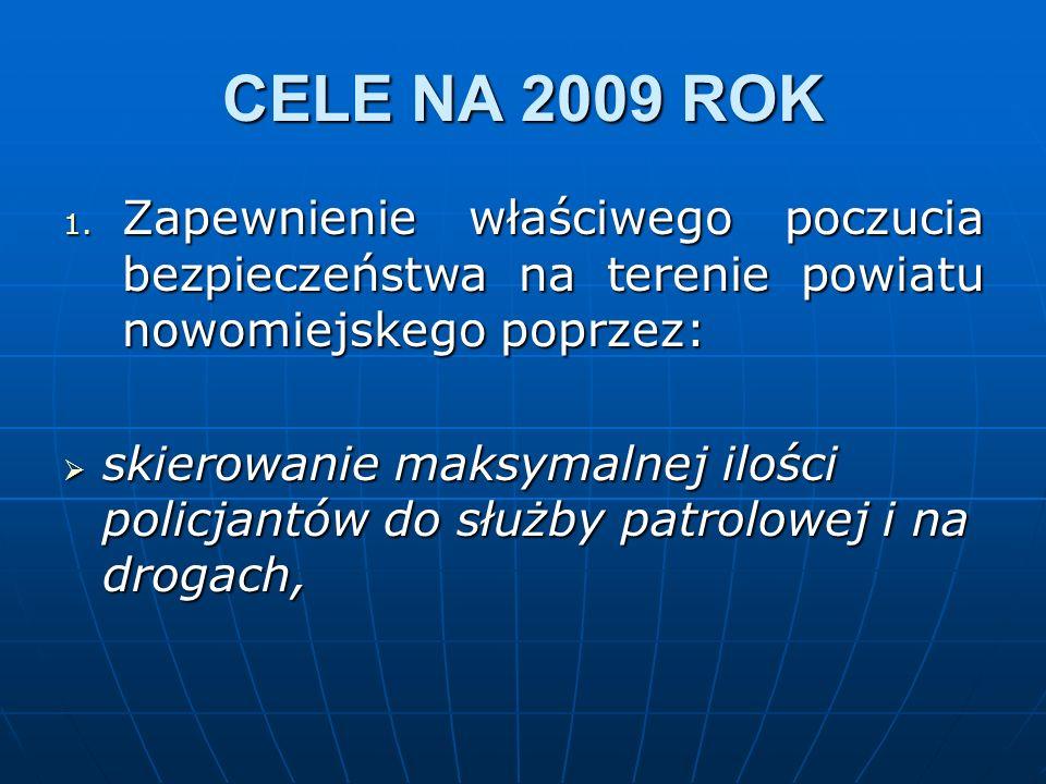 CELE NA 2009 ROK 1. Zapewnienie właściwego poczucia bezpieczeństwa na terenie powiatu nowomiejskego poprzez: skierowanie maksymalnej ilości policjantó
