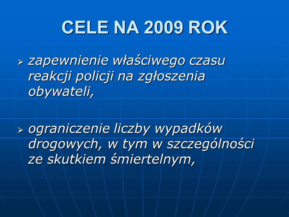 CELE NA 2009 ROK zapewnienie właściwego czasu reakcji policji na zgłoszenia obywateli, zapewnienie właściwego czasu reakcji policji na zgłoszenia obyw