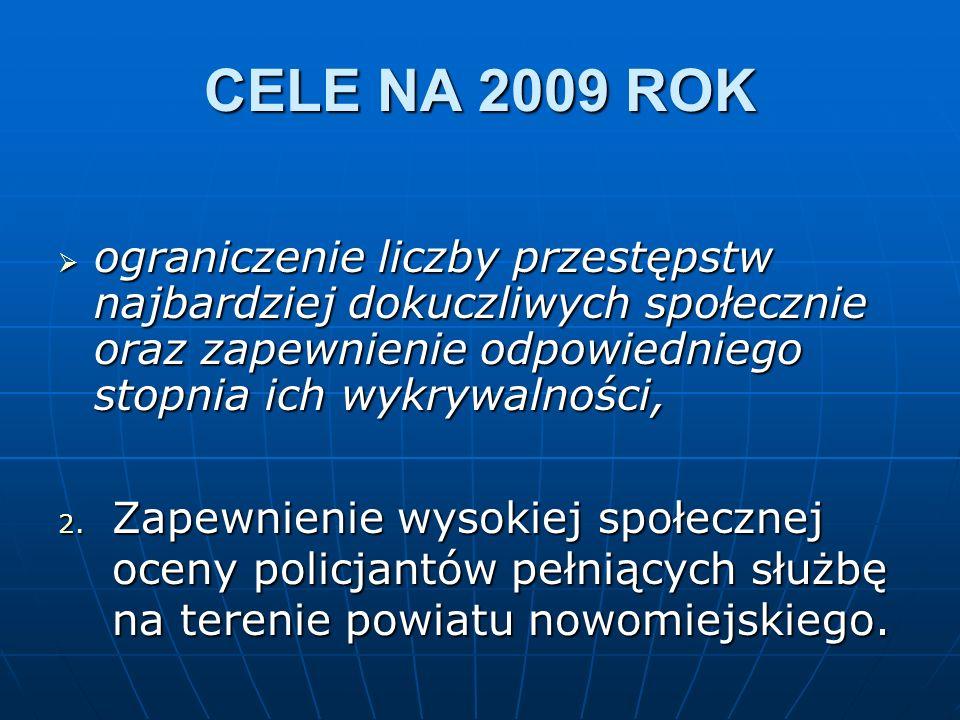 CELE NA 2009 ROK ograniczenie liczby przestępstw najbardziej dokuczliwych społecznie oraz zapewnienie odpowiedniego stopnia ich wykrywalności, ogranic