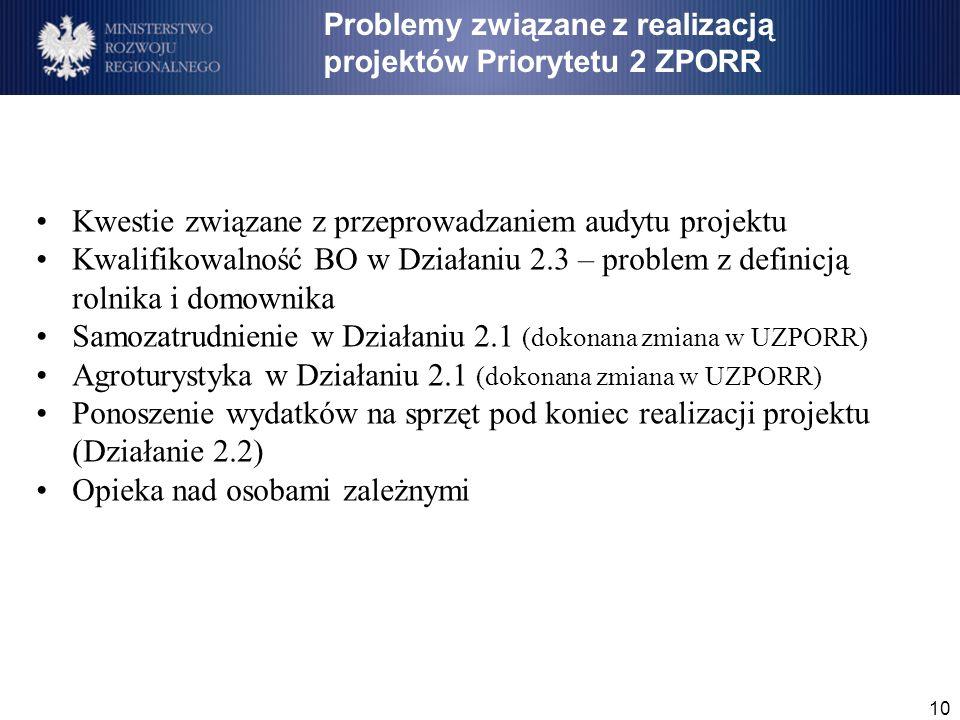 10 Kwestie związane z przeprowadzaniem audytu projektu Kwalifikowalność BO w Działaniu 2.3 – problem z definicją rolnika i domownika Samozatrudnienie w Działaniu 2.1 (dokonana zmiana w UZPORR) Agroturystyka w Działaniu 2.1 (dokonana zmiana w UZPORR) Ponoszenie wydatków na sprzęt pod koniec realizacji projektu (Działanie 2.2) Opieka nad osobami zależnymi Problemy związane z realizacją projektów Priorytetu 2 ZPORR