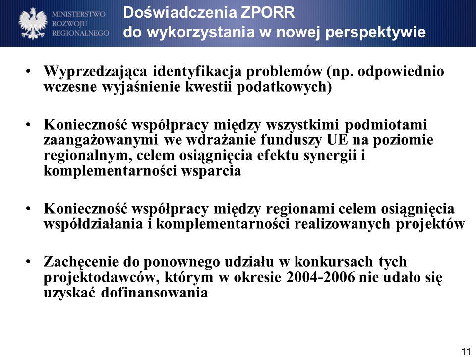 11 Doświadczenia ZPORR do wykorzystania w nowej perspektywie Wyprzedzająca identyfikacja problemów (np.