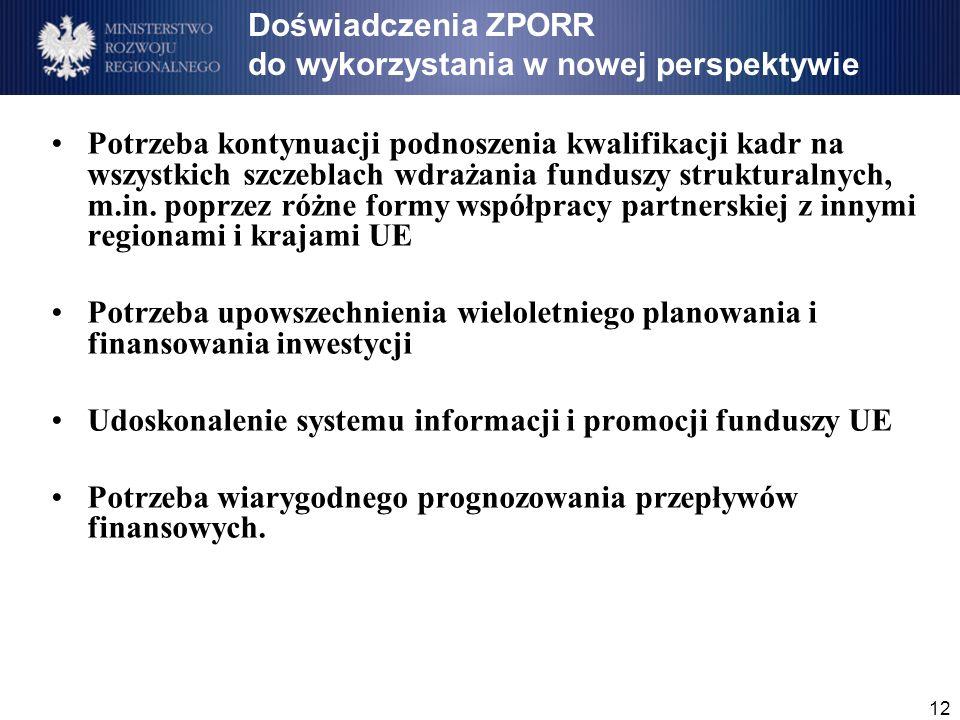 12 Doświadczenia ZPORR do wykorzystania w nowej perspektywie Potrzeba kontynuacji podnoszenia kwalifikacji kadr na wszystkich szczeblach wdrażania funduszy strukturalnych, m.in.