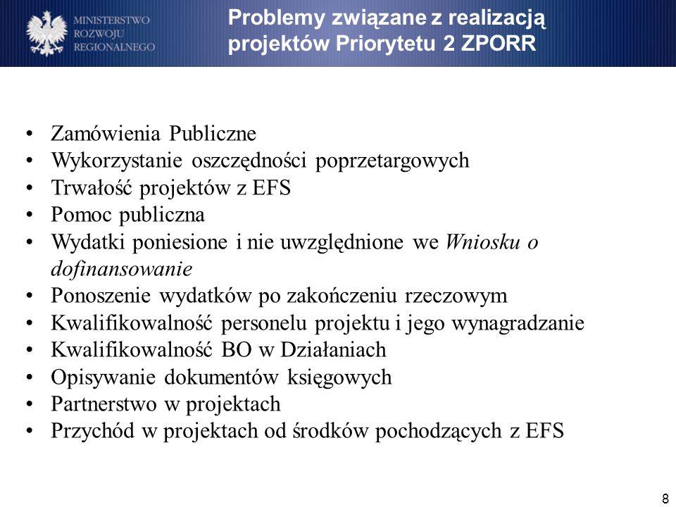 8 Zamówienia Publiczne Wykorzystanie oszczędności poprzetargowych Trwałość projektów z EFS Pomoc publiczna Wydatki poniesione i nie uwzględnione we Wniosku o dofinansowanie Ponoszenie wydatków po zakończeniu rzeczowym Kwalifikowalność personelu projektu i jego wynagradzanie Kwalifikowalność BO w Działaniach Opisywanie dokumentów księgowych Partnerstwo w projektach Przychód w projektach od środków pochodzących z EFS Problemy związane z realizacją projektów Priorytetu 2 ZPORR