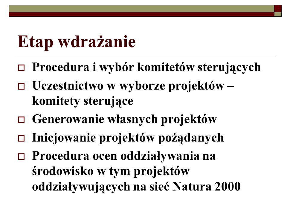Etap wdrażanie Procedura i wybór komitetów sterujących Uczestnictwo w wyborze projektów – komitety sterujące Generowanie własnych projektów Inicjowanie projektów pożądanych Procedura ocen oddziaływania na środowisko w tym projektów oddziaływujących na sieć Natura 2000