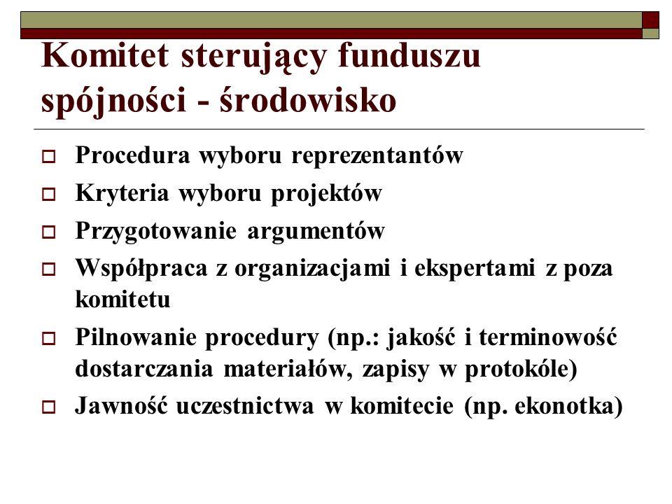Komitet sterujący funduszu spójności - środowisko Procedura wyboru reprezentantów Kryteria wyboru projektów Przygotowanie argumentów Współpraca z organizacjami i ekspertami z poza komitetu Pilnowanie procedury (np.: jakość i terminowość dostarczania materiałów, zapisy w protokóle) Jawność uczestnictwa w komitecie (np.