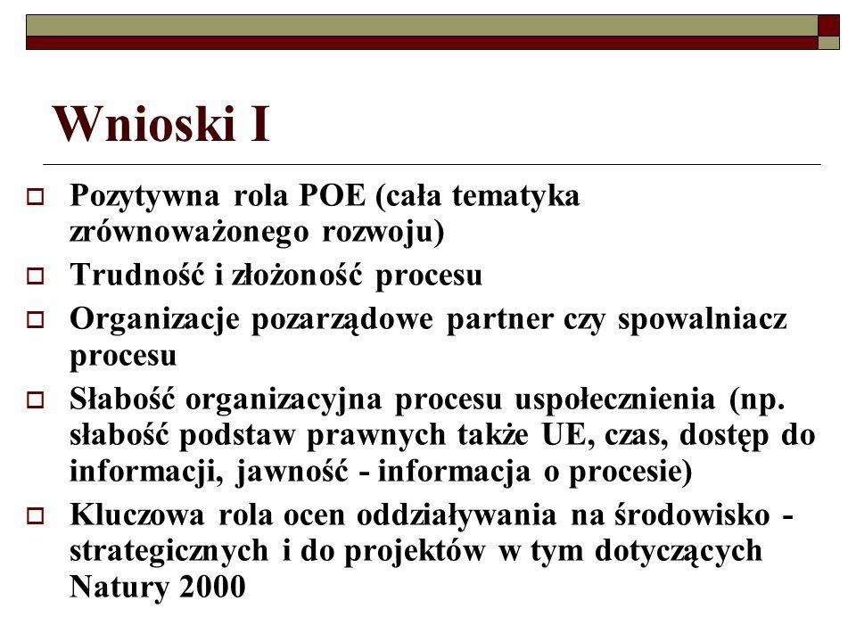 Wnioski I Pozytywna rola POE (cała tematyka zrównoważonego rozwoju) Trudność i złożoność procesu Organizacje pozarządowe partner czy spowalniacz procesu Słabość organizacyjna procesu uspołecznienia (np.