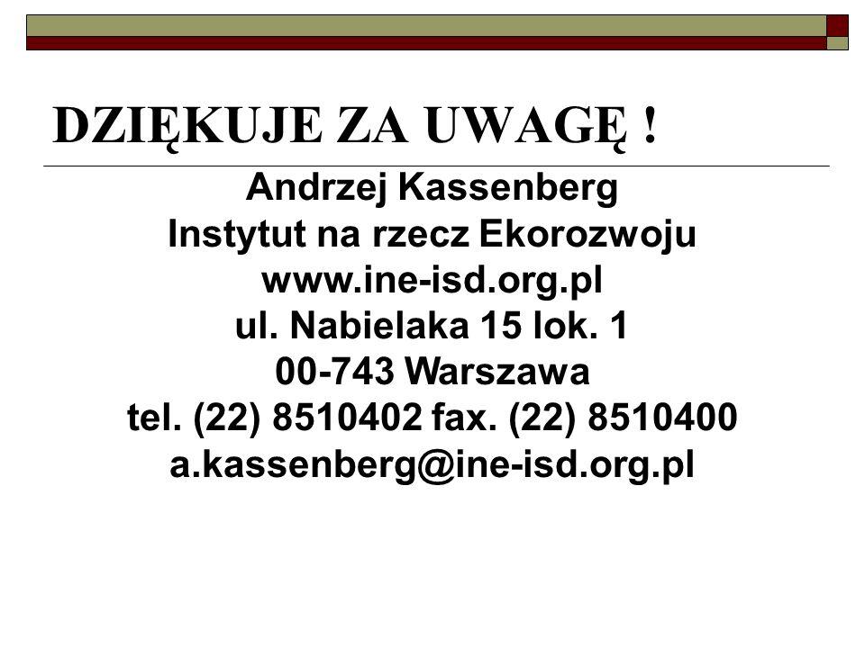 Andrzej Kassenberg Instytut na rzecz Ekorozwoju www.ine-isd.org.pl ul.