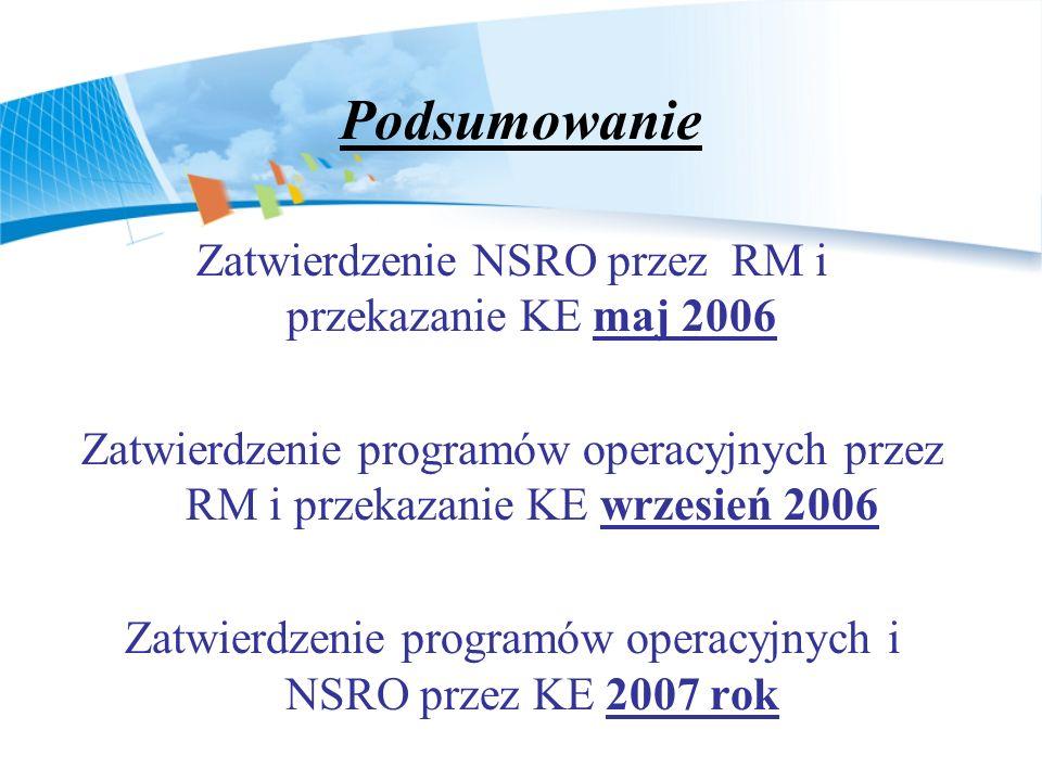 Podsumowanie Zatwierdzenie NSRO przez RM i przekazanie KE maj 2006 Zatwierdzenie programów operacyjnych przez RM i przekazanie KE wrzesień 2006 Zatwierdzenie programów operacyjnych i NSRO przez KE 2007 rok