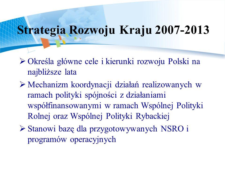 Strategia Rozwoju Kraju 2007-2013 Określa główne cele i kierunki rozwoju Polski na najbliższe lata Mechanizm koordynacji działań realizowanych w ramach polityki spójności z działaniami współfinansowanymi w ramach Wspólnej Polityki Rolnej oraz Wspólnej Polityki Rybackiej Stanowi bazę dla przygotowywanych NSRO i programów operacyjnych
