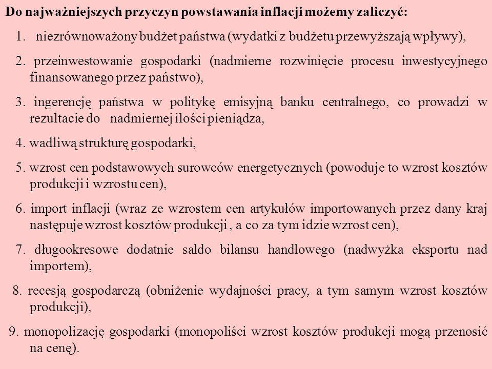 Występuje wiele wskaźników inflacji: -wskaźnik cen produktu narodowego brutto (deflator PNB), -wskaźnik cen dóbr konsumpcyjnych (CPI – Consumer Price Index), -wskaźnik cen produkcji sprzedanej przemysłu, -wskaźnik cen dóbr materialnych i usług niematerialnych zakupionych przez ludność z dochodów osobistych, -wskaźnik koszyków utrzymania (w Polsce na podstawie koszyka 1500 dóbr i usług).