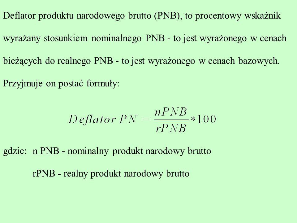 Deflator produktu narodowego brutto (PNB), to procentowy wskaźnik wyrażany stosunkiem nominalnego PNB - to jest wyrażonego w cenach bieżących do realn
