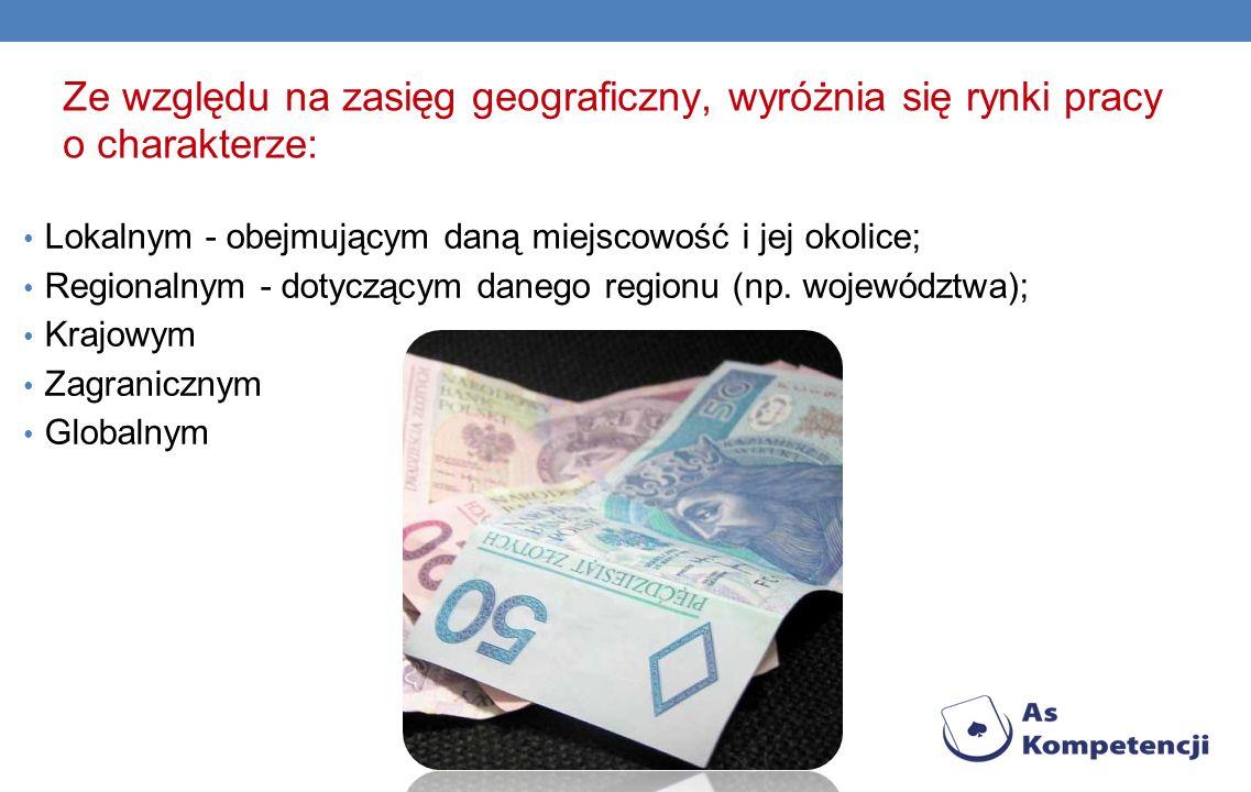 Ze względu na zasięg geograficzny, wyróżnia się rynki pracy o charakterze: Lokalnym - obejmującym daną miejscowość i jej okolice; Regionalnym - dotyczącym danego regionu (np.