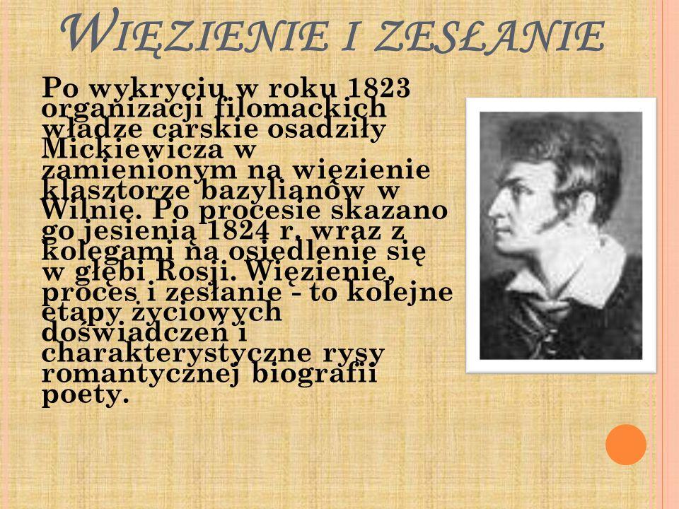 W IĘZIENIE I ZESŁANIE Po wykryciu w roku 1823 organizacji filomackich władze carskie osadziły Mickiewicza w zamienionym na więzienie klasztorze bazyli