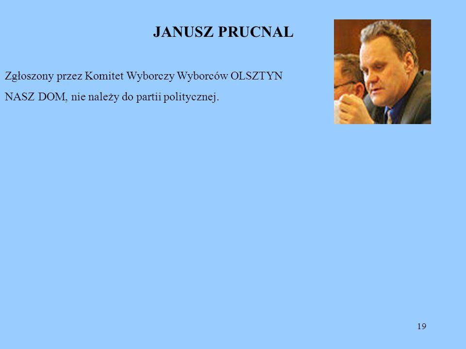 19 JANUSZ PRUCNAL Zgłoszony przez Komitet Wyborczy Wyborców OLSZTYN NASZ DOM, nie należy do partii politycznej.