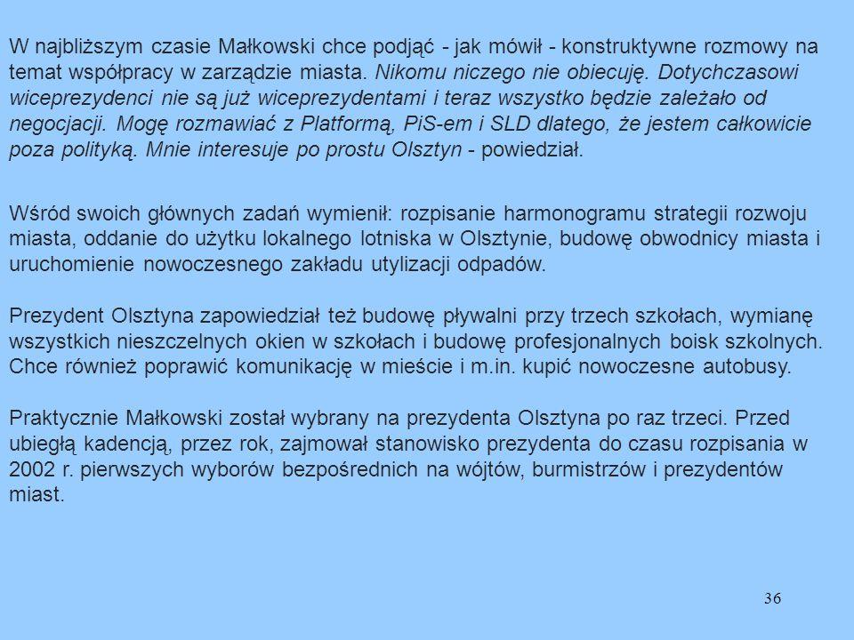 36 W najbliższym czasie Małkowski chce podjąć - jak mówił - konstruktywne rozmowy na temat współpracy w zarządzie miasta. Nikomu niczego nie obiecuję.