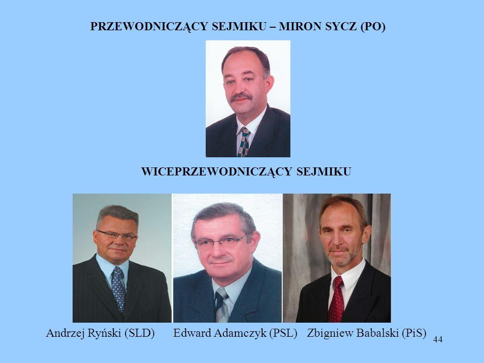 44 PRZEWODNICZĄCY SEJMIKU – MIRON SYCZ (PO) WICEPRZEWODNICZĄCY SEJMIKU Andrzej Ryński (SLD) Edward Adamczyk (PSL) Zbigniew Babalski (PiS)