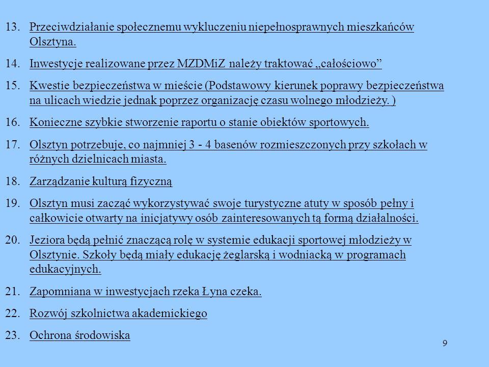 9 13.Przeciwdziałanie społecznemu wykluczeniu niepełnosprawnych mieszkańców Olsztyna. 14.Inwestycje realizowane przez MZDMiZ należy traktować całościo