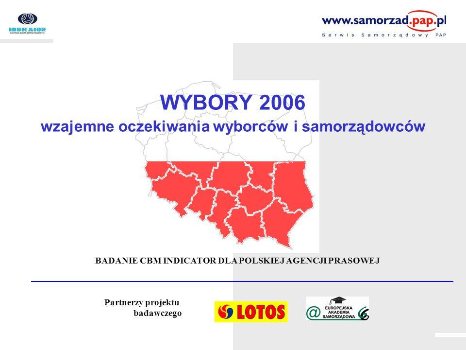WYBORY 2006 wzajemne oczekiwania wyborców i samorządowców BADANIE CBM INDICATOR DLA POLSKIEJ AGENCJI PRASOWEJ Partnerzy projektu badawczego
