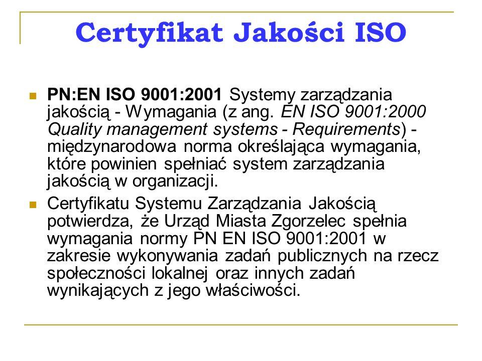 Certyfikat Jakości ISO PN:EN ISO 9001:2001 Systemy zarządzania jakością - Wymagania (z ang.