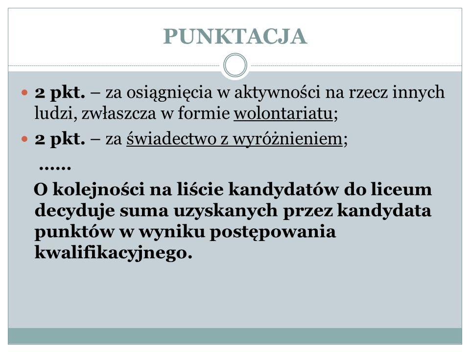 PUNKTACJA 2 pkt.