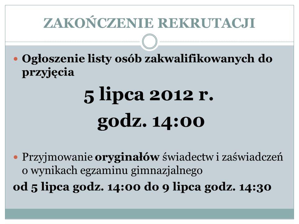 ZAKOŃCZENIE REKRUTACJI Ogłoszenie listy osób zakwalifikowanych do przyjęcia 5 lipca 2012 r.