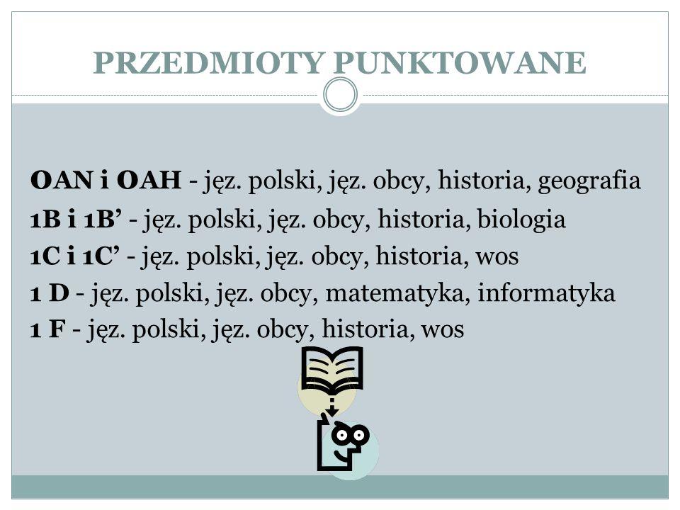 PRZEDMIOTY PUNKTOWANE 0 AN i 0 AH - jęz. polski, jęz.