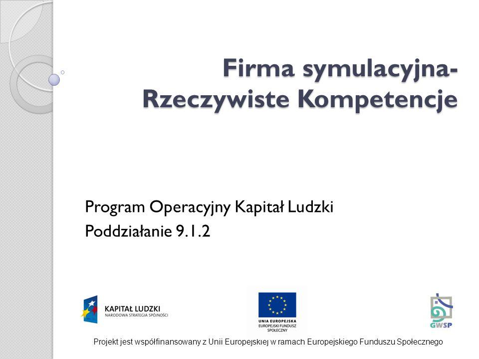 Firma symulacyjna- Rzeczywiste Kompetencje Firma symulacyjna- Rzeczywiste Kompetencje Program Operacyjny Kapitał Ludzki Poddziałanie 9.1.2 Projekt jes