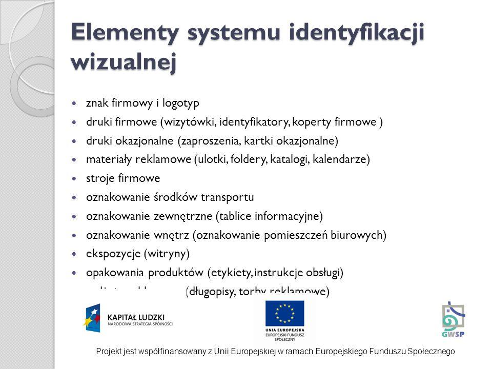 Elementy systemu identyfikacji wizualnej znak firmowy i logotyp druki firmowe (wizytówki, identyfikatory, koperty firmowe ) druki okazjonalne (zaprosz